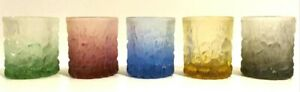 Vintage Set of 5 Coloured Icicle Low Ball Tumblers / Glasses 1970s