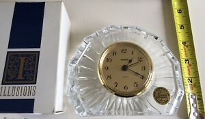 New in Box French Crystal Clock with German Movement - Cristal d'Arques