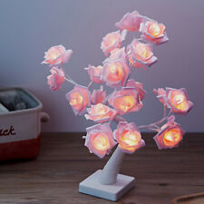 LED Pink Rose Tree Bouquet Table Lamp Bedside Night Light Home Decor NEW