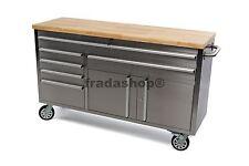 Werkstattwagen RVS, Werkbank mit massiver Holzplatte 152cm