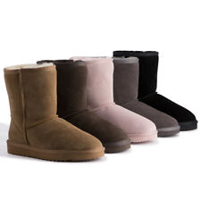 AUS WOOLI UGG  Water-Resistant Unisex Genuine AU Sheepskin Mid Calf Zip-Up Boot