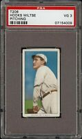Rare 1909-11 T206 Hooks Wiltse Pitching Sovereign 350 New York PSA 3 VG