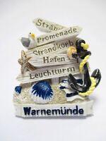 Magnet Warnemünde Wegweiser Hafen Anker Möwe Souvenir Poly Germany