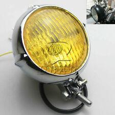 Polished Vintage Bates Style Head Light Lamp for Bobber Chopper Softail Springer