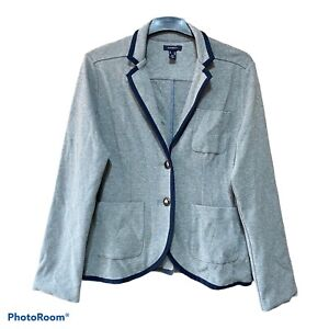 Lands end 16 Grey + Navy Contrast Knit Blazer Casual Pockets Cotton Occasion