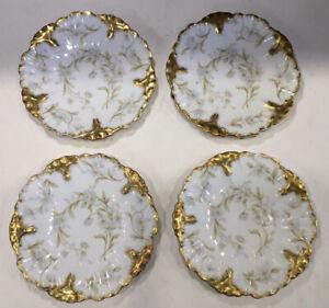 Antique Elite SM Limoges France Ornate Plate, White, Green, & Gold Set Of 4 081