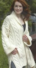 LADIES EDGE TO EDGE ARAN COAT KNITTING PATTERN 34 TO 42 INCH (1242)