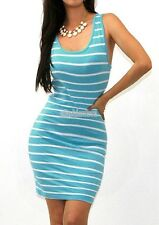 WOMEN SEXY STRIPE CASUAL RACER BACK TIGHT FITTED TANK TUNIC DRESS S M L KF