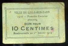 MONNAIE CARTON  L'ISLE SUR TARN   10  centimes 1919  ( monnaie de nécessité  )