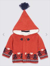 BNWT M&S Dark Orange Rust Fleece Lined Hooded Fairisle Cardigan 0-3 Months