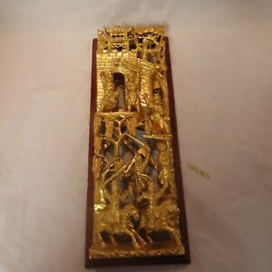 VINTAGE CHINESE GILT WOOD CARVING PANEL WITH WARRIORS