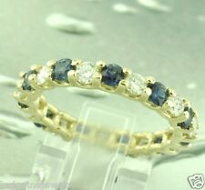 3.03 ct 14k Yellow Gold Natural Diamond & Blue Sapphire Eternity Ring size 7.5