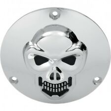 3-d skull derby cover chrome 3-hole - Drag specialties 33-0061-PC