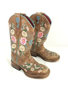 Toddler Macie Bean Flower Embroidered Western Boots Brown leather Sz 10 T