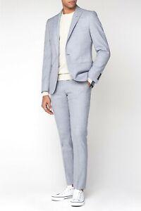 Ben Sherman Skinny Fit Suit Cool Grey Texture Camden