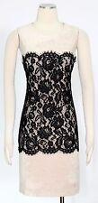 Calvin Klein Beige Black Dress Size 8 Cocktail Faux Suede Lace Women's New*