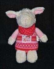 Peluche doudou mouton agneau SIGIKID blanc rouge rose bandana coeur 18 cm TTBE