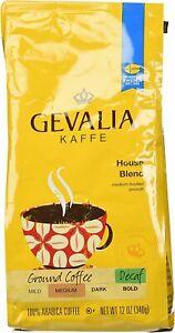 GEVALIA KAFFE House Blend 100% Arabica Ground Coffee MEDIUM Smooth DECAF 12 oz
