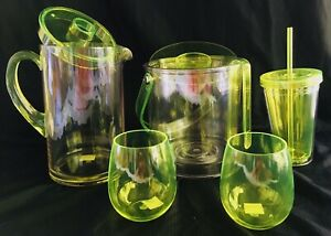 Neon Yellow Acrylic Pitcher And 2 Stemless Wine Cups / Tumbler/ Ice Bucket Set