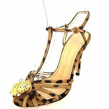 NEW $1095 Charlotte Olympia CLIO Fur Strappy Leopard Sandal Womens Size 6 M*