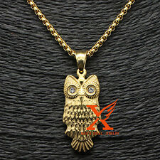 "Stainless Steel Jewelry Gold Plated Owl Shape Pendant Necklace 3MM 24"" Box Chain"