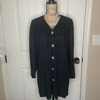 Vintage Ruth Norman New York Black Long Sleeve Button Down Gold Dynasty Tunic L