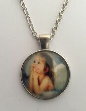 """SWEET ANGEL PICTURE PENDANT 1 IN SILVER 16 - 22"""" CHOOSE CHAIN SIZE IN GIFT BAG."""