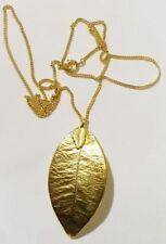 collier pendentif feuille vintage doré or fin 24 carats 4290