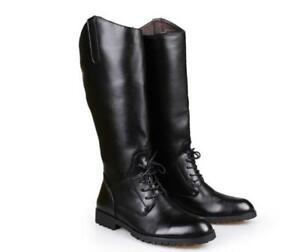 Men's Leather Military Back Zip Black Knee High Riding Boots Equestrian Shoes MM