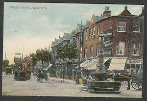 Postcard Isleworth near Hounslow Middlesex early view of Spring grove with Tram