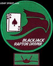 USAF ACADEMY 21st CADET SQ - F-22 - BLACKJACK RAPTOR DRIVER - ORIGINAL PATCH SET