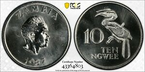 1987 Zambia 10 Ngwee PCGS SP65 Kings Norton Mint Proof