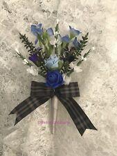 WEDDING BUTTONHOLE~SCOTTISH~HEATHER/THISTLE/FORGET-ME-NOTS/ROSES~TARTAN RIBBON