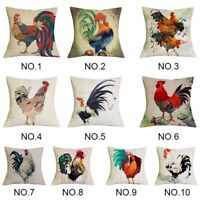 """18x18"""" Colorful Chicken Rooster Printed Cushion Cover Pillow Case   Home Decor"""