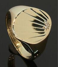9CT Yellow Gold Oval Sunburst Patt Diamond Set Signet Ring Size P (80.19.535)