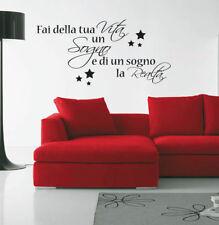 adesivi murali wall stickers frase fai della tua vita un sogno stelle 0151