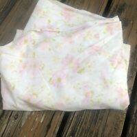 Vtg Pink Green Floral Twin Fitted Sheet 60s 70s Cotton Polyester Bed Linens