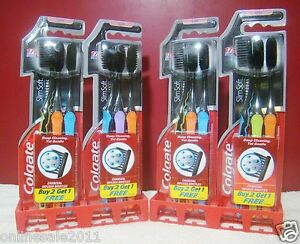 Toothbrush 12 Brush Colgate Slim Soft Charcoal Soft Bristles Lot Of 12 Free Ship