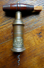 THOMASON TYPE BRASS BARREL CORKSCREW with SHIELD - 19th C - DIEU ET MOI DROIT