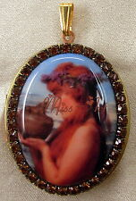 PANDORAS BOX Fantasy Porcelain Cameo Brass Locket Rhinestones Miss-art DeStash
