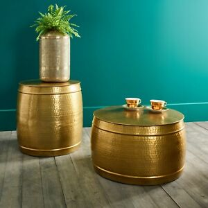 Hammered Metal Gold Colour Side Table