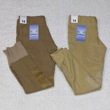 2 Pair Tuff Rider Children's Breeches Size 14 Equestrian Pants Lt Tan Sand NWT
