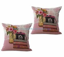 US SELLER-set of 2 pillow cushions vintage floral camera books cushion cover