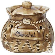 Zwiebeltopf Zwiebelsack Zwiebel-Sack Aufbewahrung Keramik Topf Vorratstopf 2,5 L