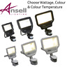 ANSELL CALINOR PIR LED FLOOD SECURITY LIGHTS 10W 20W 30W 50W BLACK & WHITE 4000K
