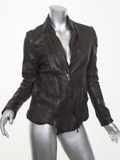 MASNADA Womens Brown Leather Long-Sleeve Moto Biker Jacket Coat 42/6 S NEW