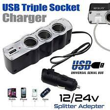 3 Way Multi Socket Car Cigarette Lighter Car Charger USB Plug Charger DC12/24V