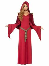 Ladies Gothic Medieval Queen Priestess Costume Womens Game Thrones Fancy Dress