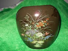 Asahi Moon Vase Black with flowers made in Japan