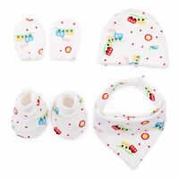 Baby Mittens & Booties Gloves Hat Triangle Bibs Newborn 4 Set Anti Scratching